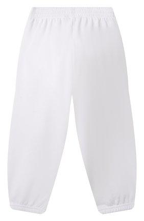Детские хлопковые джоггеры BALENCIAGA белого цвета, арт. 682140/TLV84 | Фото 2 (Материал внешний: Хлопок; Мальчики Кросс-КТ: Брюки-спорт)