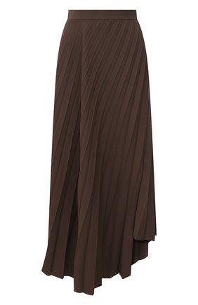 Женская плиссированная юбка BALENCIAGA коричневого цвета, арт. 675570/TG014 | Фото 1 (Длина Ж (юбки, платья, шорты): Миди; Материал внешний: Синтетический материал; Стили: Гламурный; Женское Кросс-КТ: юбка-плиссе, Юбка-одежда)