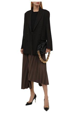 Женская плиссированная юбка BALENCIAGA коричневого цвета, арт. 675570/TG014 | Фото 2 (Длина Ж (юбки, платья, шорты): Миди; Материал внешний: Синтетический материал; Стили: Гламурный; Женское Кросс-КТ: юбка-плиссе, Юбка-одежда)
