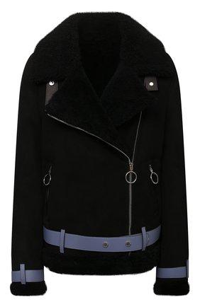 Женская дубленка из овчины OFF-WHITE черного цвета, арт. 0WJA054F21LEA001 | Фото 1 (Материал внешний: Натуральный мех; Рукава: Длинные; Длина (верхняя одежда): Короткие; Стили: Гламурный; Женское Кросс-КТ: Мех)