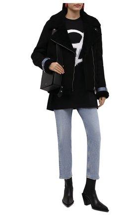 Женская дубленка из овчины OFF-WHITE черного цвета, арт. 0WJA054F21LEA001 | Фото 2 (Материал внешний: Натуральный мех; Рукава: Длинные; Длина (верхняя одежда): Короткие; Стили: Гламурный; Женское Кросс-КТ: Мех)