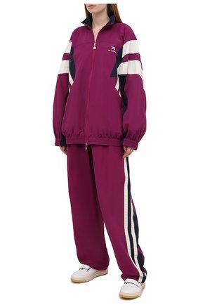 Женская куртка BALENCIAGA фуксия цвета, арт. 675473/TK048 | Фото 2 (Рукава: Длинные; Длина (верхняя одежда): Короткие; Материал подклада: Хлопок, Вискоза; Материал внешний: Синтетический материал; Стили: Спорт-шик; Кросс-КТ: Куртка)