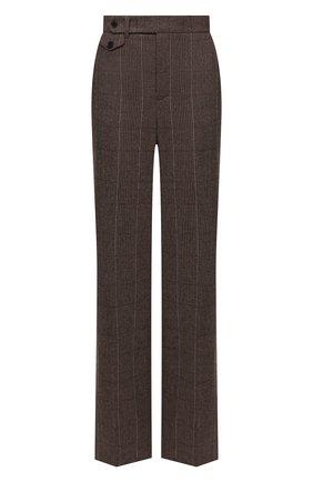 Женские шерстяные брюки RALPH LAUREN коричневого цвета, арт. 290858182 | Фото 1 (Длина (брюки, джинсы): Удлиненные; Материал внешний: Шерсть; Стили: Спорт-шик; Женское Кросс-КТ: Брюки-одежда; Силуэт Ж (брюки и джинсы): Широкие)