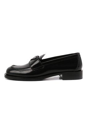 Женские кожаные лоферы PRADA черного цвета, арт. 1D238M-P39-F0002-020   Фото 2 (Подошва: Плоская)