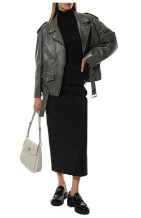 Женские кожаные лоферы PRADA черного цвета, арт. 1D246M-ULS-F0002-B050   Фото 2 (Подошва: Плоская, Платформа; Каблук высота: Низкий)