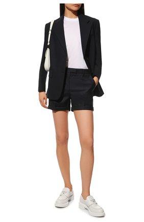 Женские кожаные лоферы PRADA белого цвета, арт. 1D246M-ULS-F0009-B050 | Фото 2 (Подошва: Плоская)