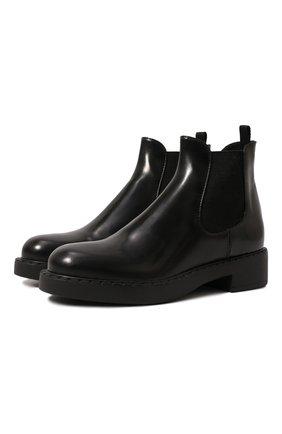 Женские кожаные ботинки PRADA черного цвета, арт. 1T251M-ULS-F0002-B050 | Фото 1 (Подошва: Плоская; Каблук высота: Низкий; Каблук тип: Устойчивый)