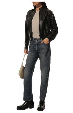 Женские кожаные ботинки PRADA черного цвета, арт. 1T251M-ULS-F0002-B050 | Фото 2 (Подошва: Плоская; Каблук высота: Низкий; Каблук тип: Устойчивый)