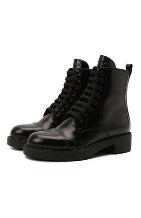 Женские кожаные ботинки PRADA черного цвета, арт. 1T360M-ULS-F0002-B050   Фото 1 (Подошва: Плоская; Женское Кросс-КТ: Военные ботинки; Каблук высота: Низкий; Каблук тип: Устойчивый)