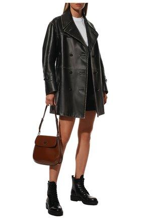 Женские кожаные ботинки PRADA черного цвета, арт. 1T360M-ULS-F0002-B050   Фото 2 (Подошва: Плоская; Женское Кросс-КТ: Военные ботинки; Каблук высота: Низкий; Каблук тип: Устойчивый)