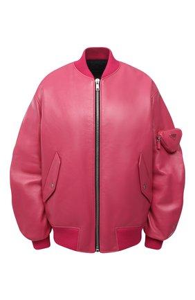 Женский кожаный бомбер PRADA розового цвета, арт. 58A079-1ZFE-F01BK | Фото 1 (Стили: Гламурный; Женское Кросс-КТ: Замша и кожа; Кросс-КТ: Куртка, бомбер)