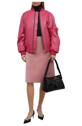 Женский кожаный бомбер PRADA розового цвета, арт. 58A079-1ZFE-F01BK | Фото 2 (Стили: Гламурный; Женское Кросс-КТ: Замша и кожа; Кросс-КТ: Куртка, бомбер)