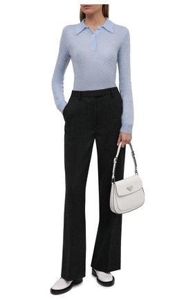 Женское поло PRADA голубого цвета, арт. P24L1I-1ZOJ-F0012-212 | Фото 2 (Материал внешний: Шерсть; Стили: Кэжуэл; Рукава: Длинные; Длина (для топов): Стандартные)