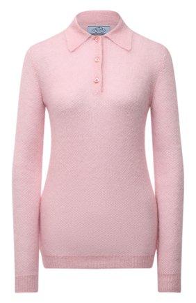Женское поло PRADA розового цвета, арт. P24L1I-1ZOJ-F0442-212 | Фото 1 (Материал внешний: Шерсть; Стили: Кэжуэл; Рукава: Длинные; Длина (для топов): Стандартные)