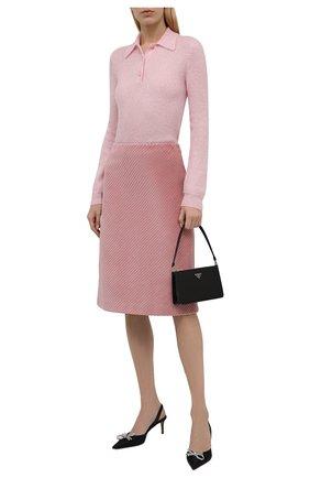 Женское поло PRADA розового цвета, арт. P24L1I-1ZOJ-F0442-212 | Фото 2 (Материал внешний: Шерсть; Стили: Кэжуэл; Рукава: Длинные; Длина (для топов): Стандартные)