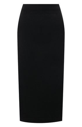 Женская юбка из шерсти и кашемира PRADA черного цвета, арт. 131098-1Y5V-F0002-212   Фото 1 (Материал внешний: Кашемир, Шерсть; Стили: Кэжуэл; Длина Ж (юбки, платья, шорты): До колена; Женское Кросс-КТ: Юбка-одежда)