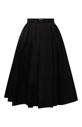 Женская плиссированная юбка PRADA черного цвета, арт. 21H911-1WQ8-F0002-212   Фото 1 (Материал внешний: Синтетический материал; Стили: Кэжуэл; Длина Ж (юбки, платья, шорты): До колена; Женское Кросс-КТ: юбка-плиссе, Юбка-одежда)