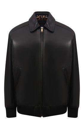Женская кожаная куртка PRADA черного цвета, арт. 58A039-NBA-F0002   Фото 1 (Материал утеплителя: Шерсть; Стили: Гламурный; Женское Кросс-КТ: Замша и кожа; Кросс-КТ: Куртка)