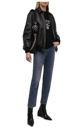 Женская кожаная куртка PRADA черного цвета, арт. 58A039-NBA-F0002   Фото 2 (Материал утеплителя: Шерсть; Стили: Гламурный; Женское Кросс-КТ: Замша и кожа; Кросс-КТ: Куртка)