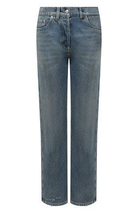 Женские джинсы PRADA синего цвета, арт. GFP469-1ZAB-F0008-212 | Фото 1 (Материал внешний: Хлопок; Стили: Кэжуэл; Кросс-КТ: Деним; Силуэт Ж (брюки и джинсы): Слим; Длина (брюки, джинсы): Стандартные)