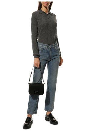 Женские джинсы PRADA синего цвета, арт. GFP469-1ZAB-F0008-212 | Фото 2 (Материал внешний: Хлопок; Стили: Кэжуэл; Кросс-КТ: Деним; Силуэт Ж (брюки и джинсы): Слим; Длина (брюки, джинсы): Стандартные)