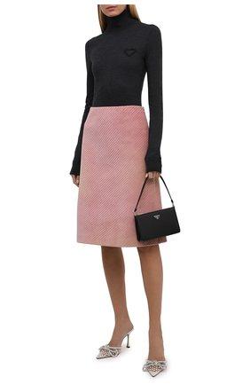 Женская юбка PRADA розового цвета, арт. P151T-1Y8A-F0924-212 | Фото 2 (Материал внешний: Хлопок; Стили: Гламурный; Длина Ж (юбки, платья, шорты): До колена; Женское Кросс-КТ: Юбка-одежда)
