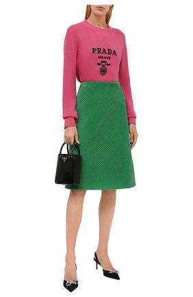 Женский свитер из шерсти и кашемира PRADA розового цвета, арт. P24G1V-1YMW-F0442-211 | Фото 2 (Материал внешний: Шерсть, Кашемир; Стили: Кэжуэл; Рукава: Длинные; Женское Кросс-КТ: Свитер-одежда)