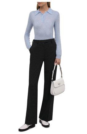 Женские шерстяные брюки PRADA темно-серого цвета, арт. P290EG-1ZJ8-F0480-212 | Фото 2 (Материал внешний: Шерсть; Стили: Кэжуэл; Длина (брюки, джинсы): Удлиненные; Силуэт Ж (брюки и джинсы): Расклешенные; Женское Кросс-КТ: Брюки-одежда)