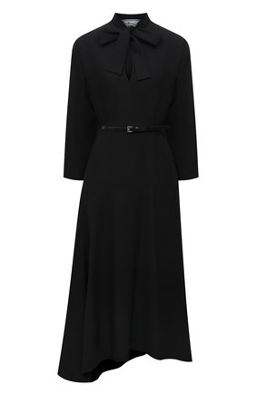Женское платье PRADA черного цвета, арт. P3F06K-1Y78-F0002-212   Фото 1 (Материал внешний: Синтетический материал; Стили: Гламурный; Женское Кросс-КТ: Платье-одежда; Рукава: Длинные; Длина Ж (юбки, платья, шорты): До колена)