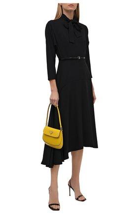 Женское платье PRADA черного цвета, арт. P3F06K-1Y78-F0002-212   Фото 2 (Материал внешний: Синтетический материал; Стили: Гламурный; Женское Кросс-КТ: Платье-одежда; Рукава: Длинные; Длина Ж (юбки, платья, шорты): До колена)