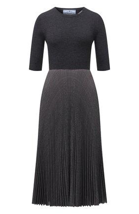 Женское платье PRADA темно-серого цвета, арт. P3F45-1ZH2-F0C9S-212 | Фото 1 (Материал внешний: Шерсть, Синтетический материал; Стили: Кэжуэл; Кросс-КТ: Трикотаж; Женское Кросс-КТ: Платье-одежда; Рукава: Короткие; Длина Ж (юбки, платья, шорты): До колена)
