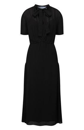 Женское платье PRADA черного цвета, арт. P3G00-1ZZR-F0002-212 | Фото 1 (Материал внешний: Вискоза; Стили: Гламурный; Женское Кросс-КТ: Платье-одежда; Рукава: Короткие; Длина Ж (юбки, платья, шорты): До колена)