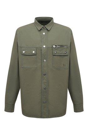 Мужская хлопковая рубашка BALMAIN хаки цвета, арт. WH0HC080/162D | Фото 1 (Длина (для топов): Стандартные; Материал внешний: Хлопок; Рукава: Длинные; Случай: Повседневный; Принт: Однотонные; Стили: Милитари; Манжеты: На кнопках; Рубашки М: Classic Fit; Воротник: Кент)