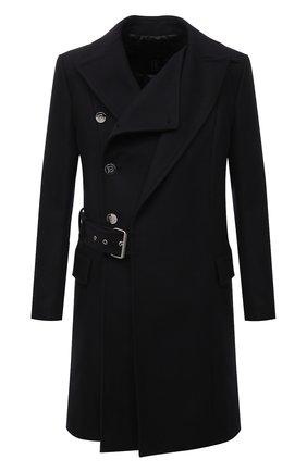 Мужской шерстяное пальто BALMAIN темно-синего цвета, арт. WH0UC050/W115 | Фото 1 (Материал внешний: Шерсть; Рукава: Длинные; Материал подклада: Синтетический материал; Длина (верхняя одежда): До колена; Мужское Кросс-КТ: пальто-верхняя одежда; Стили: Кэжуэл)