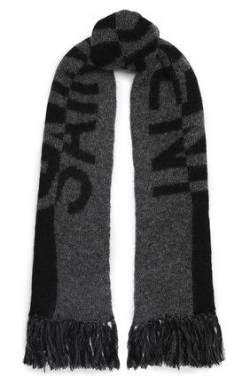 Женский шерстяной шарф SAINT LAURENT темно-серого цвета, арт. 668797/3YI68 | Фото 1 (Материал: Шерсть)