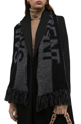 Женский шерстяной шарф SAINT LAURENT темно-серого цвета, арт. 668797/3YI68 | Фото 2 (Материал: Шерсть)
