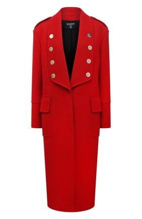 Женское шерстяное пальто BALMAIN красного цвета, арт. WF0UD040/W142   Фото 1 (Рукава: Длинные; Материал подклада: Вискоза; Длина (верхняя одежда): Длинные; Материал внешний: Шерсть; Стили: Гламурный; 1-2-бортные: Однобортные)