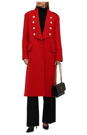 Женское шерстяное пальто BALMAIN красного цвета, арт. WF0UD040/W142   Фото 2 (Рукава: Длинные; Материал подклада: Вискоза; Длина (верхняя одежда): Длинные; Материал внешний: Шерсть; Стили: Гламурный; 1-2-бортные: Однобортные)