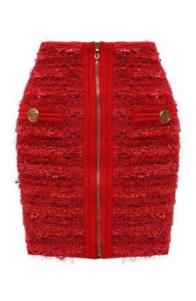Женская юбка BALMAIN красного цвета, арт. WF0LB012/K336   Фото 1 (Длина Ж (юбки, платья, шорты): Мини; Материал внешний: Вискоза; Стили: Гламурный; Кросс-КТ: Трикотаж)