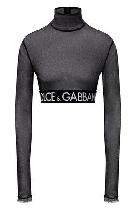 Женский топ DOLCE & GABBANA черного цвета, арт. F8N63T/FLEAA | Фото 1 (Материал внешний: Хлопок; Длина (для топов): Укороченные; Рукава: Длинные; Стили: Гламурный)