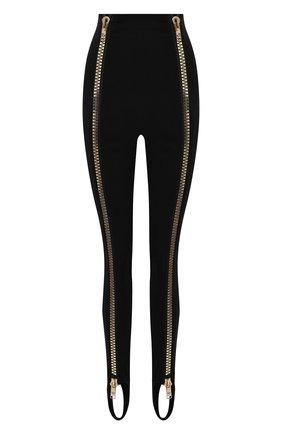 Женские леггинсы со штрипками DOLCE & GABBANA черного цвета, арт. FTCBST/FUGL3 | Фото 1 (Длина (брюки, джинсы): Удлиненные; Материал внешний: Вискоза; Стили: Гламурный)