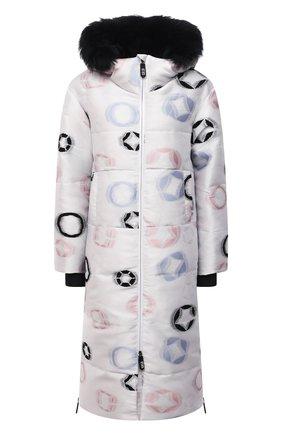 Женская утепленная куртка GIORGIO ARMANI белого цвета, арт. 1WH0C06R/T031F   Фото 1 (Длина (верхняя одежда): До колена; Рукава: Длинные; Материал подклада: Синтетический материал; Материал внешний: Синтетический материал; Стили: Спорт-шик; Женское Кросс-КТ: Пуховик-куртка)