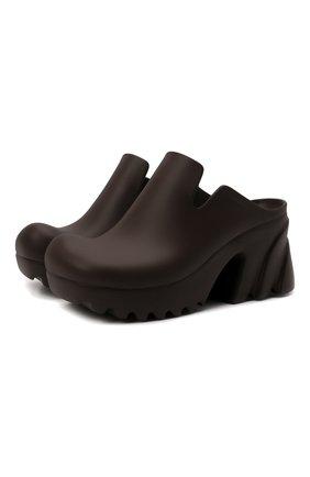 Женские резиновые сабо rubber flash BOTTEGA VENETA темно-коричневого цвета, арт. 667153/V11T0 | Фото 1 (Материал внешний: Резина; Каблук тип: Устойчивый; Каблук высота: Средний, Высокий; Подошва: Массивная, Платформа)