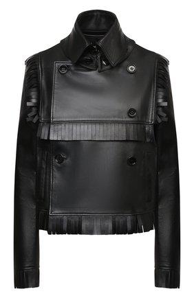 Женская кожаная куртка BURBERRY черного цвета, арт. 8046701 | Фото 1 (Длина (верхняя одежда): Короткие; Рукава: Длинные; Материал подклада: Купро; Стили: Гламурный; Женское Кросс-КТ: Замша и кожа; Кросс-КТ: Куртка)