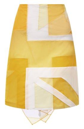 Женская юбка BURBERRY желтого цвета, арт. 8046843   Фото 1 (Материал подклада: Шелк; Материал внешний: Синтетический материал; Длина Ж (юбки, платья, шорты): Мини; Стили: Гламурный; Женское Кросс-КТ: Юбка-одежда)