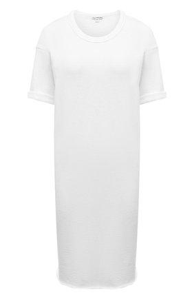 Женская хлопковая футболка JAMES PERSE белого цвета, арт. WXA6634   Фото 1 (Длина (для топов): Удлиненные; Материал внешний: Хлопок; Рукава: Короткие; Стили: Кэжуэл; Принт: Без принта; Женское Кросс-КТ: Футболка-одежда)