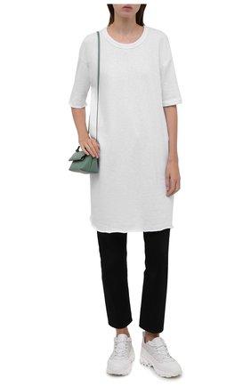 Женская хлопковая футболка JAMES PERSE белого цвета, арт. WXA6634   Фото 2 (Длина (для топов): Удлиненные; Материал внешний: Хлопок; Рукава: Короткие; Стили: Кэжуэл; Принт: Без принта; Женское Кросс-КТ: Футболка-одежда)