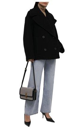 Женское шерстяное полупальто DRIES VAN NOTEN черного цвета, арт. 212-010220-3271   Фото 2 (Длина (верхняя одежда): До середины бедра; Материал внешний: Шерсть; Материал подклада: Хлопок; Рукава: Длинные; Стили: Гламурный; 1-2-бортные: Двубортные)