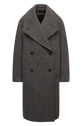 Женское шерстяное пальто DRIES VAN NOTEN серого цвета, арт. 212-010219-3322   Фото 1 (Длина (верхняя одежда): Длинные; Материал внешний: Шерсть; Рукава: Длинные; Стили: Гламурный; 1-2-бортные: Двубортные)
