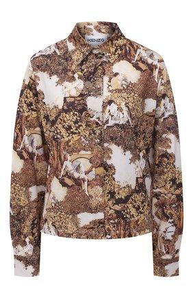 Женская рубашка KENZO бежевого цвета, арт. FB62T08594PE   Фото 1 (Рукава: Длинные; Длина (для топов): Стандартные; Материал внешний: Синтетический материал; Стили: Кэжуэл; Принт: С принтом; Женское Кросс-КТ: Рубашка-одежда)